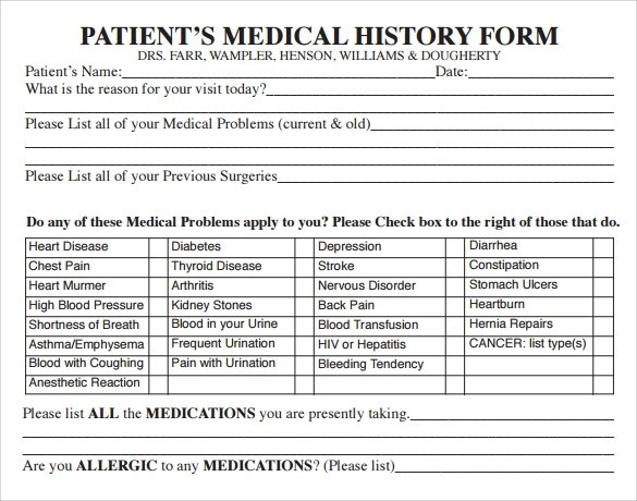 Sample Medical History Form Continued On Next Page Download Initial - allergy list template