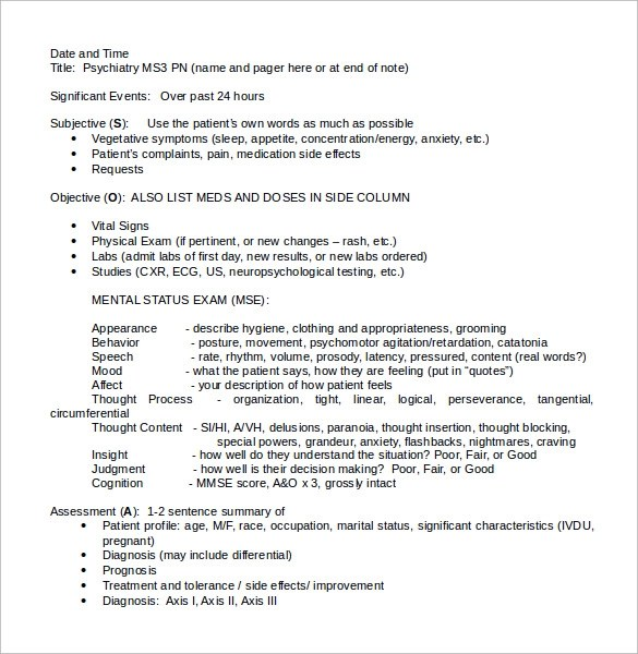 9+ Soap Notes Template Cashier ResumeSample Soap Note Example - patient note