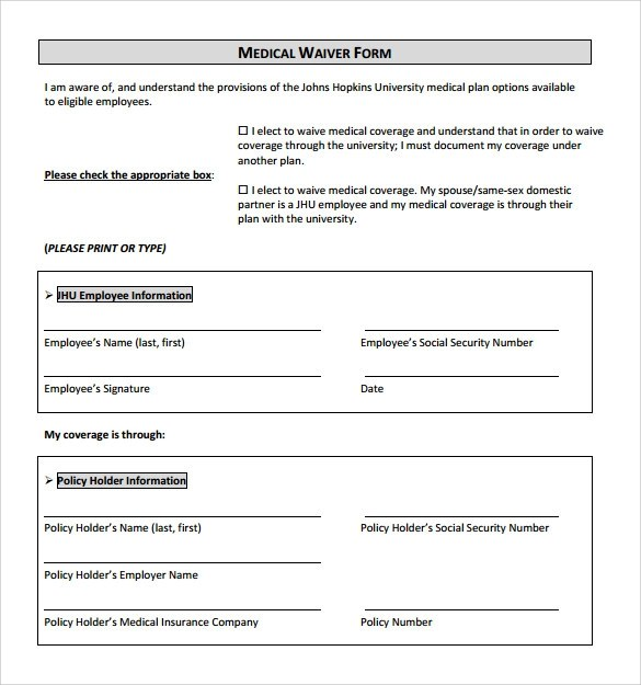 11+ Sample Medical Waiver Forms Sample Templates