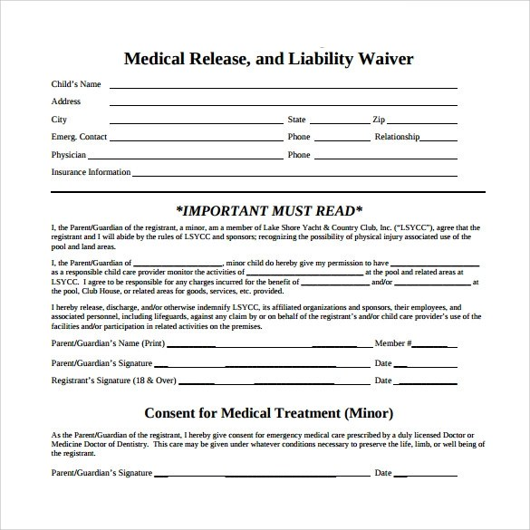 Medical Waiver Form Medical Waiver Form Template Download Free - liability waiver template word