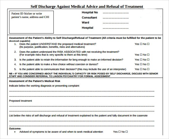 High Quality Against Medical Advice Form 8 Samples Examples Format.  SaveEnlarge