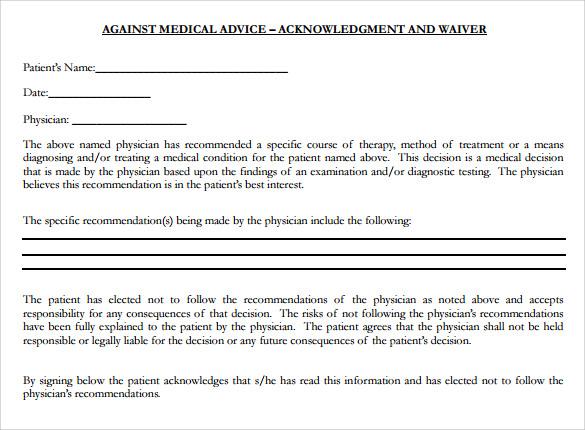 Sample Against Medical Advice Form Download Against Medical Advice
