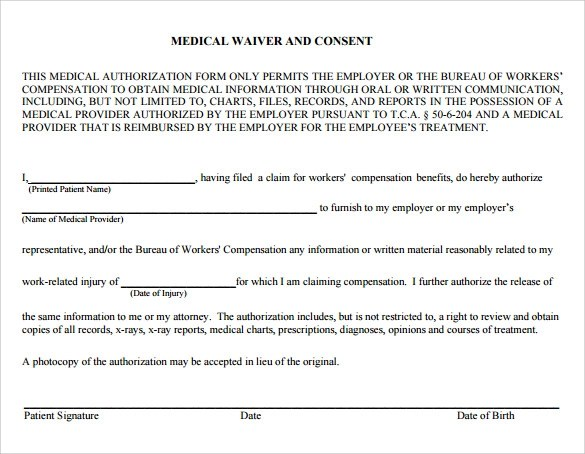 Medical Waiver Template - Costumepartyrun - sample medical waiver form