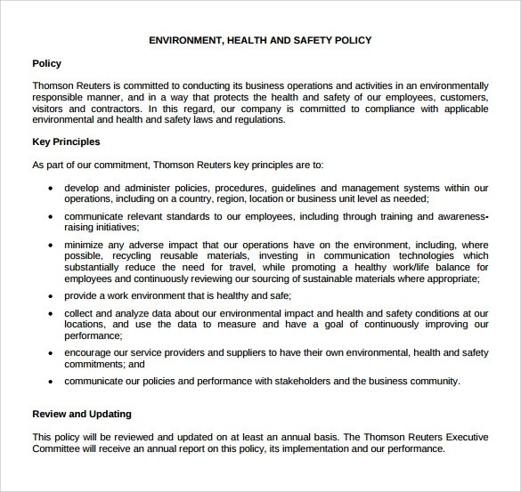 11+ Sample Health and Safety Policy Templates Sample Templates