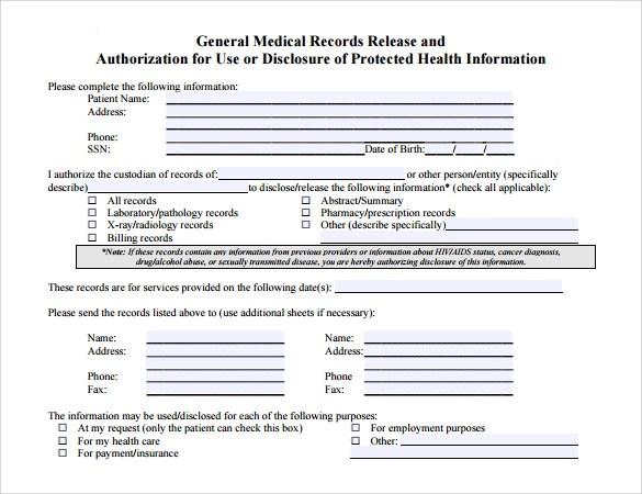 Generic Release Form Media Release Form Consent Samples Free Sample - authorization for medical records