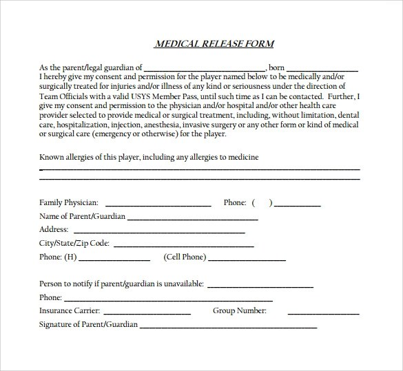 12 Medical Release Forms \u2013 Samples, Examples  Formats Sample