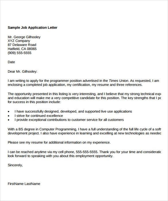 8 Sample Application Letter Format Templates for Free Download