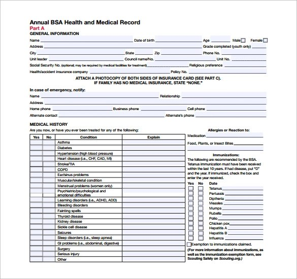 9 BSA Medical Forms \u2013 Free Samples, Examples  Format Sample Templates
