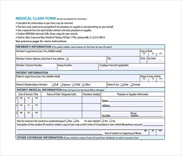 15 Medical Claim Forms \u2013 Samples, Examples  Format Sample Templates - medical claim form