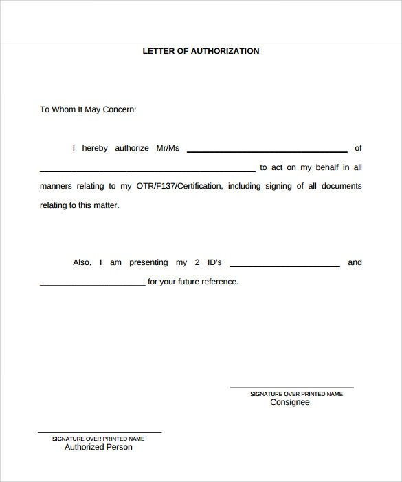 8 Example of Authorization Letter Templates to Download Sample - Authorization Letters Sample