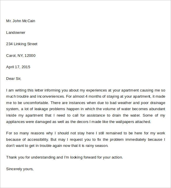 letter to apartment manager complaint