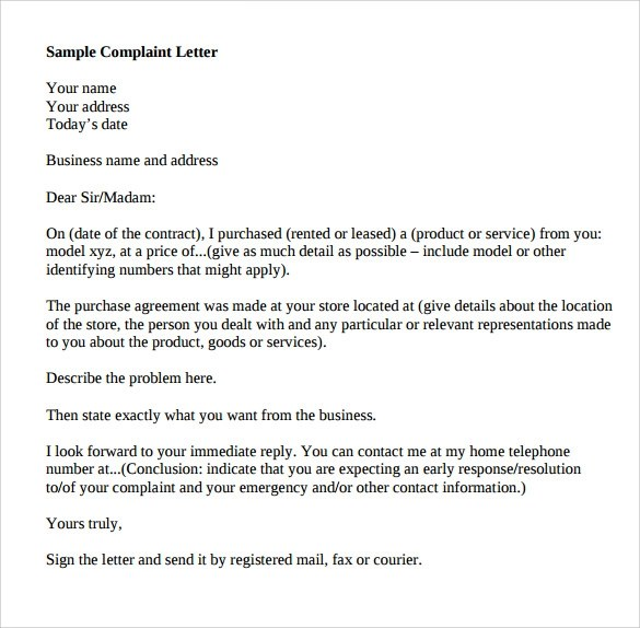 Sample Complaint Letter Format - 9+ Download Documents in PDF , Word - business complaint letter format