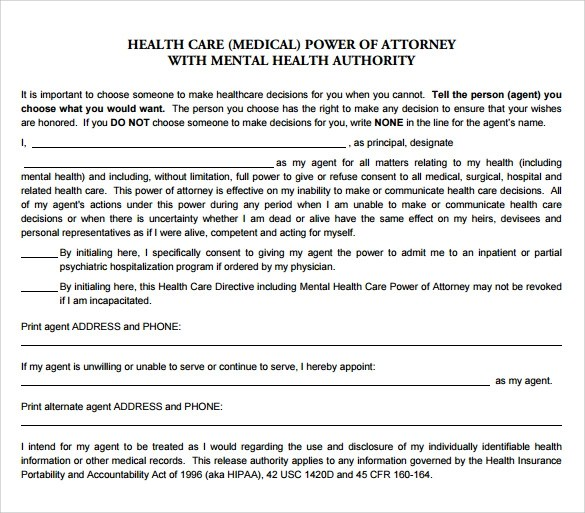 Sample Health Care Power Of Attorney Form Pennsylvania Medical - sample medical power of attorney form