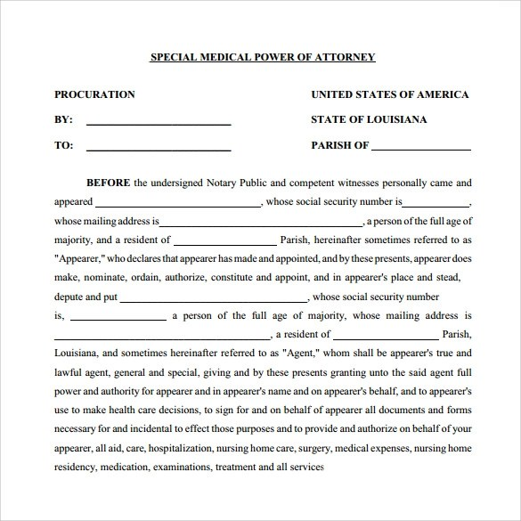 11+ Medical Power of Attorney Forms \u2013 Samples, Examples  Formats - Medical Power Of Attorney Form