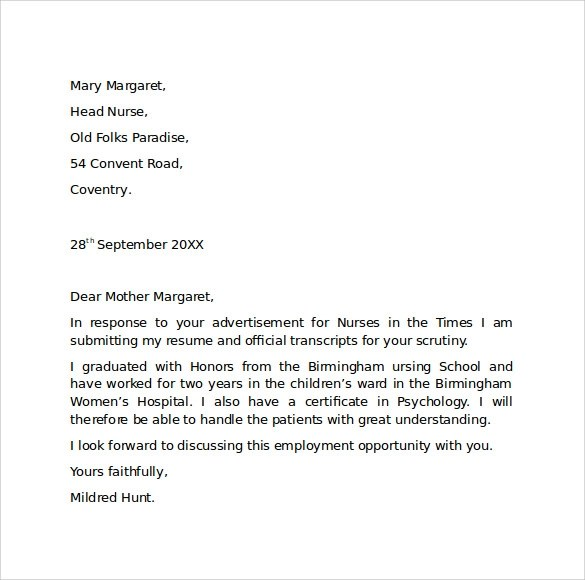 Employment Cover Letter Template - Free Samples , Examples , Format - application letter sample