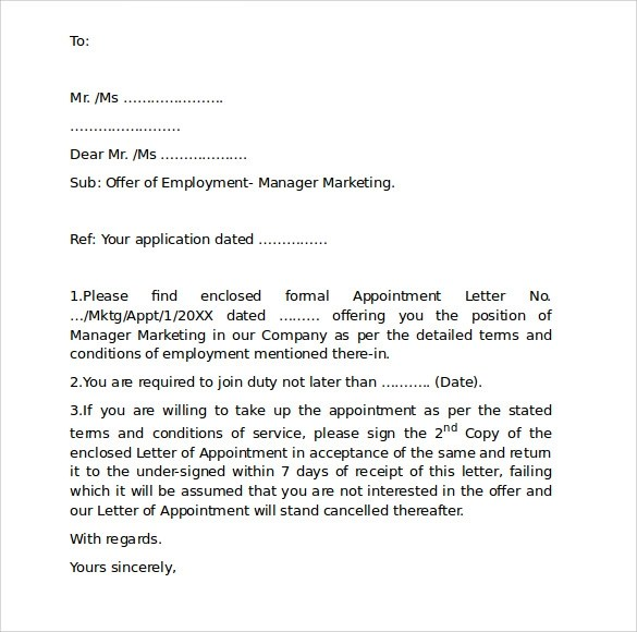 Employment Cover Letter Template - Free Samples , Examples , Format - employment cover letter format
