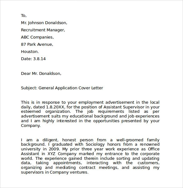 10 Employment Cover Letter Templates \u2013 Samples , Examples  Format