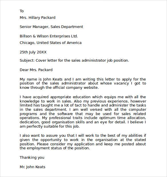cover letter for job application sample