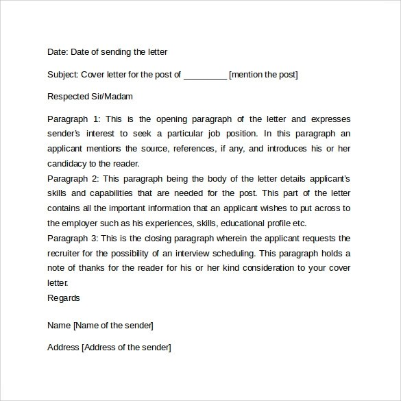 Sample Cover Letter Format Example - 11+ Download Free Documents in