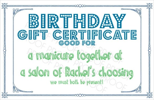 10+ Sample Birthday Gift Certificate Templates - Sample, Example, Format