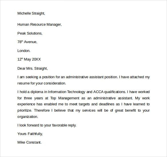 cover letter for office administrative assistant