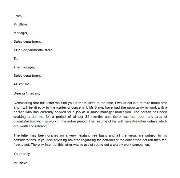 Sample Reference letter Format - 13 + Download Free Documents in - letters of reference template