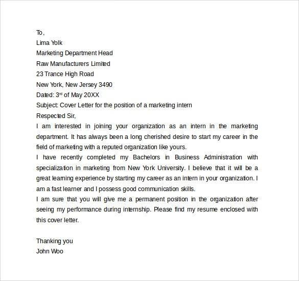 13 Internship Cover Letter Examples to Download Sample Templates