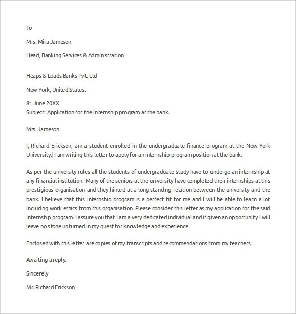 Sample Internship Cover Letter Example - 12 + Download Free