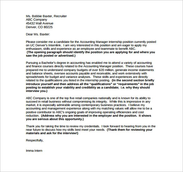 Sample Internship Cover Letter Example - 12 + Download Free - internship cover letter