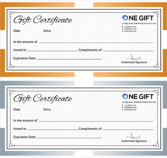 word templates for gift certificates