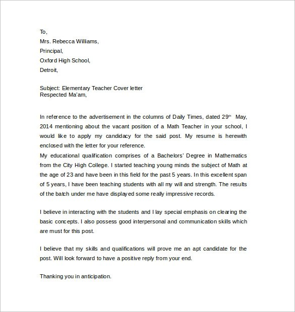 Sample Teacher Cover Letter Example - 12 + Download Free Documents