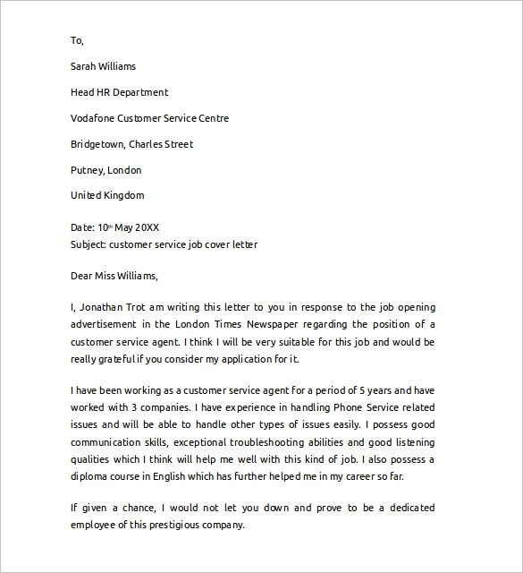 customer service cover letter sample about careers - Yelom