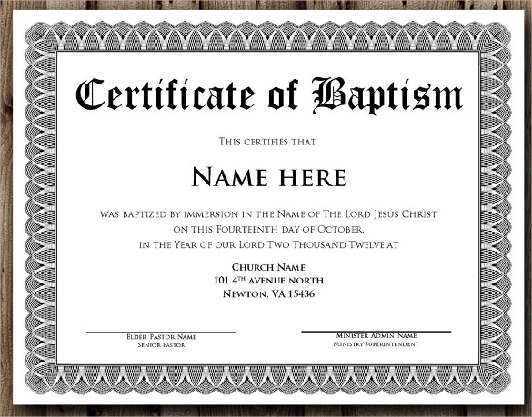 Baptism Certificate - 14+ Free Samples , Examples , Format