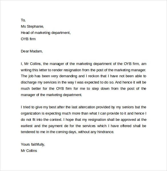 Writing A Resignation Thank You Letter Sample Examples Sample Resignation Letter Format 14 Download Free
