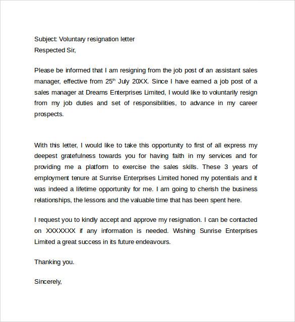 Nursing Resignation Letter Sample Format Example Sample Resignation Letter Format 14 Download Free