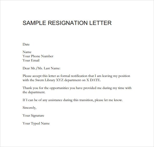 Resignation Letter Examples Due To Health Issues Sample Resignation Letter Format 14 Download Free