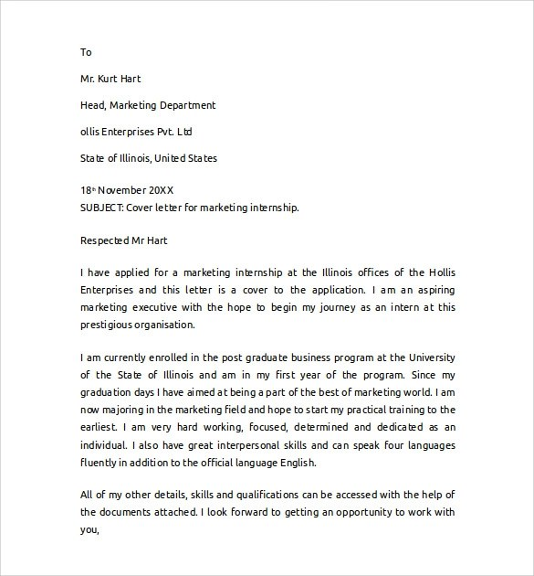 Cover Letter Internship Marketing Assistant  Writing A Good