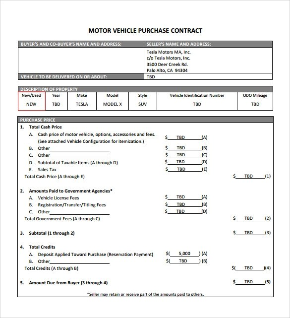 Car Purchase Agreement With Payments  NodeCvresume