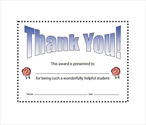 thank you certificate template - thank you certificate template