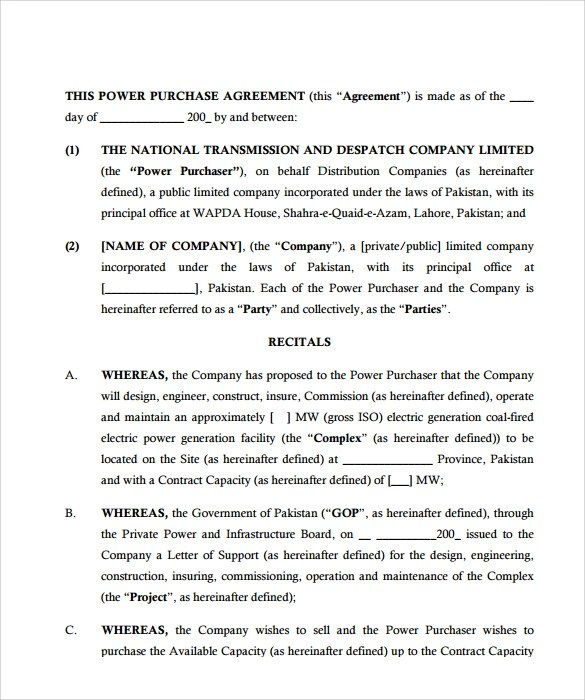 8+ Sample Power Purchase Agreements Sample Templates