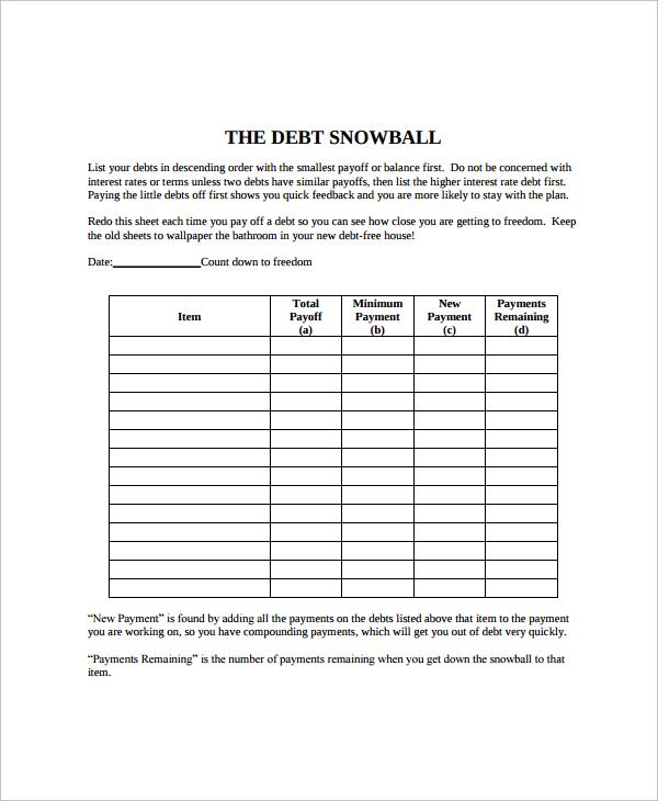 debt snowball calculator template