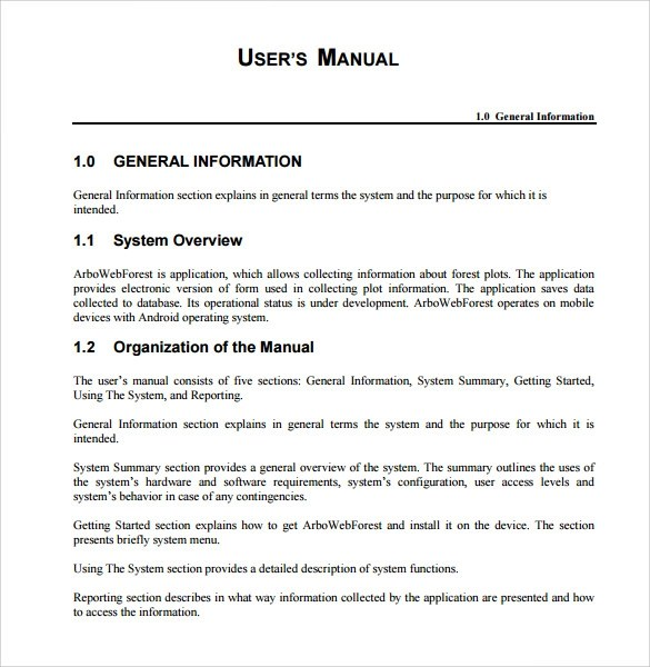 user manuals template - Goalgoodwinmetals