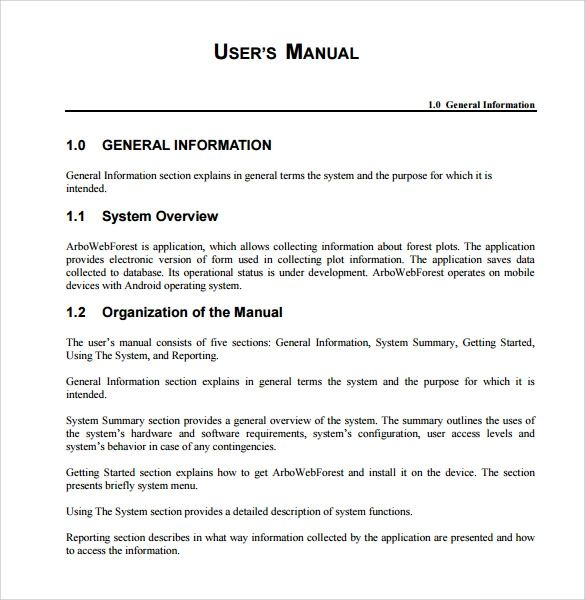 user manuals template