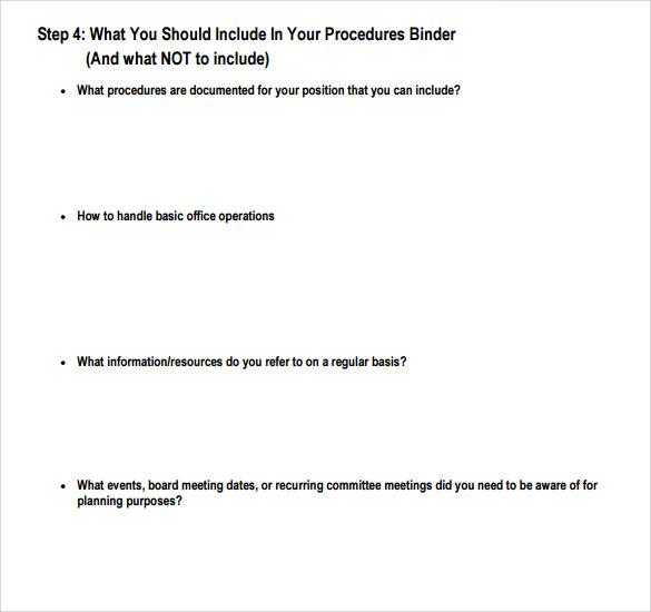 procedure manual template word - free office procedures manual template