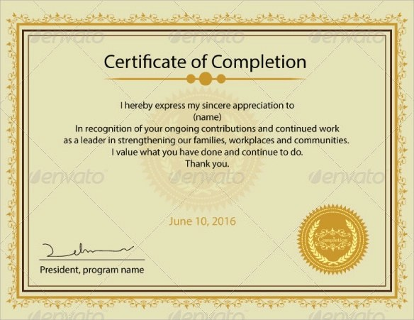 15 Certificate of Completion Templates \u2013 Samples, Examples  Formats - certification of completion sample