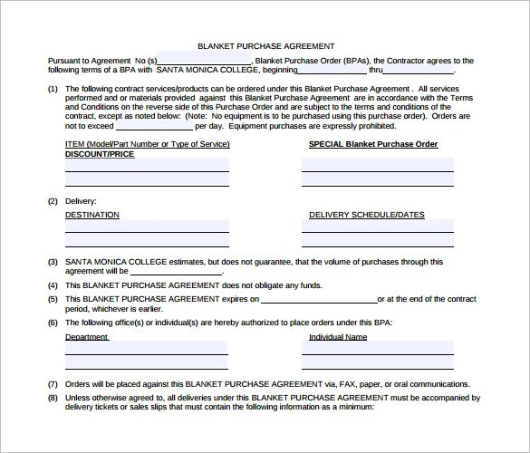 Blanket Purchase Agreement - 9+ Samples , Examples , Format - purchase agreement samples