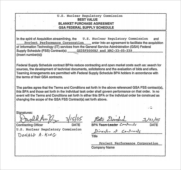 10 Blanket Purchase Agreements -Samples , Examples  Format Sample