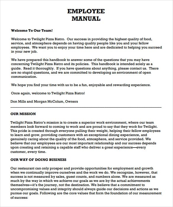 Employee Handbook Template lisamaurodesign - sample employee manual template