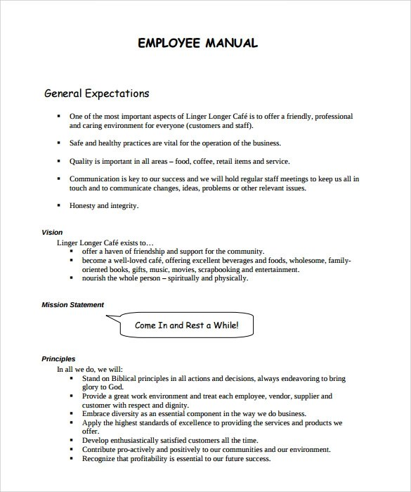 Staff Manual Template  Resume Template Sample