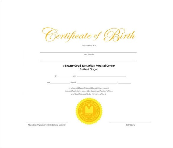 Birth Certificate Template - 11 + Download Free Documents in PDF, Word - sample birth certificate template